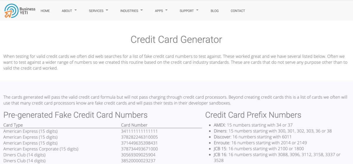 BusinessYeti Credit Card Generator