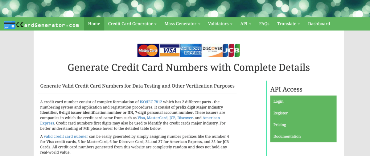 CCardGenerator - Credit Card Generator