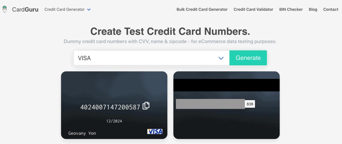 CardGuru Credit Card Generator