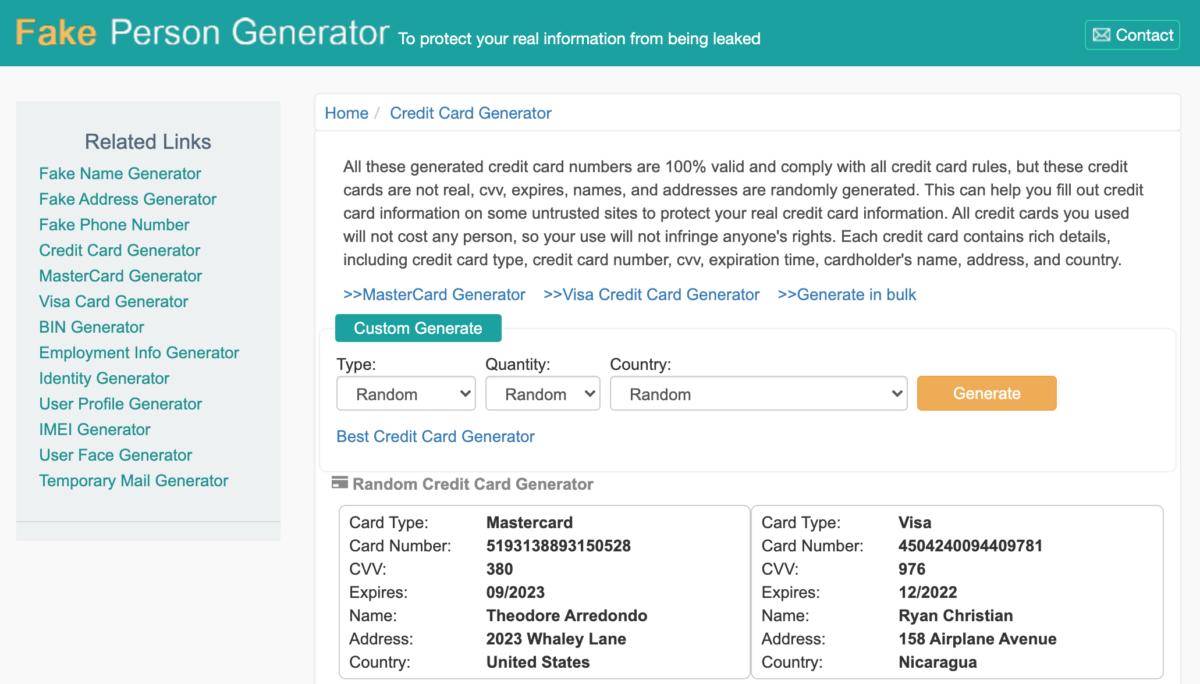 FakePersonGenerator Credit Card Generator