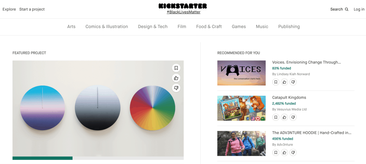 KickStarter homepage screenshot