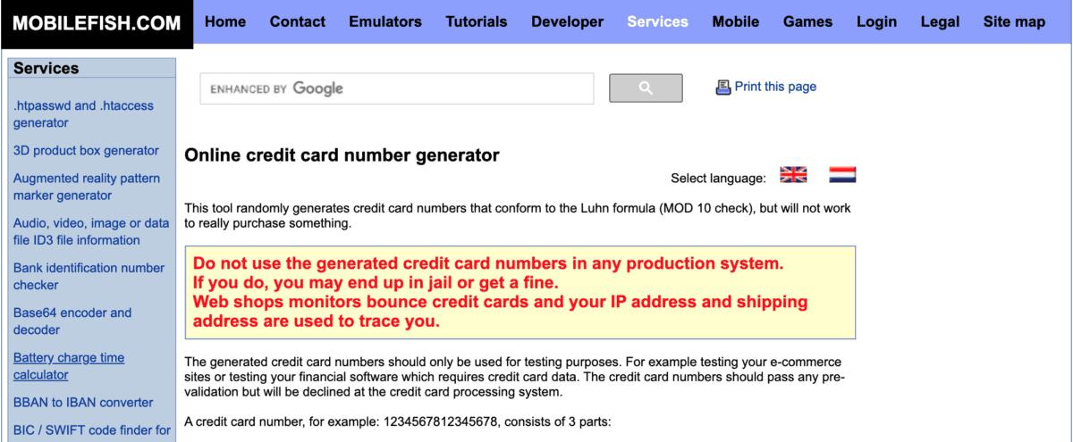 Mobilefish.com Credit Card Generator
