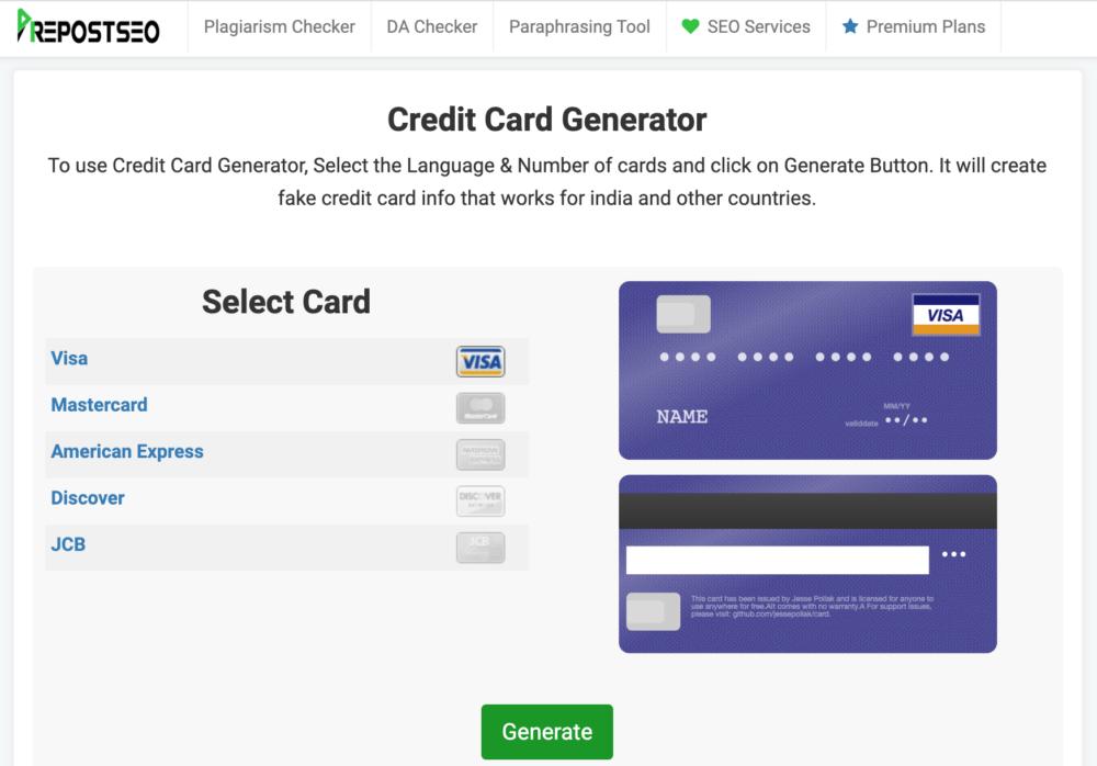 PrepostSEO Credit Card Generator