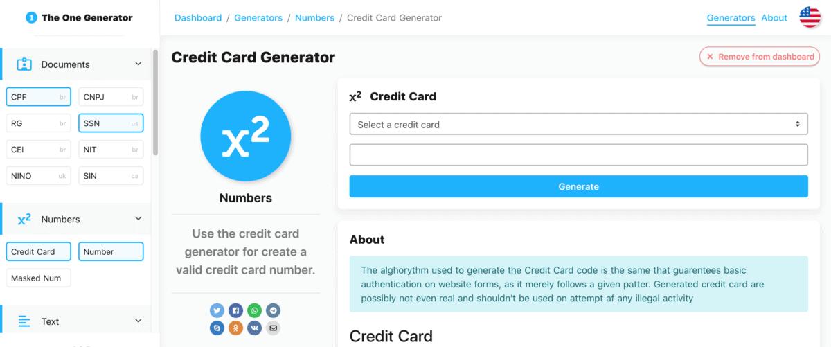 The One Generator - Credit card Generator